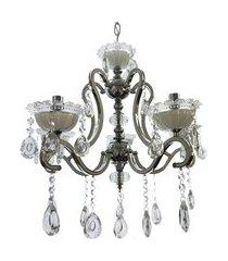 lustre de cristal diamante iluminação 6502/5 maria teresa bivolt cromado