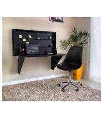 conjunto escrivaninha retrátil preta + cadeira eiffel office base giratória - preta