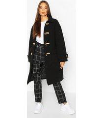collared wool look duffle coat, black