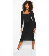 zwangerschaps geribbelde bodycon jurk met vierkante hals, zwart