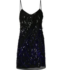 alberta ferretti beaded mini dress - black