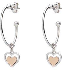orecchini a cerchio in argento con cuore rosato pendente per donna