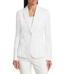 akris punto women's seersucker blazer - white - size 14