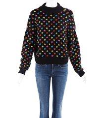 jonathan cohen starburst knit sweater black/multicolor sz: custom