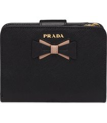prada small saffiano leather wallet with bow - black