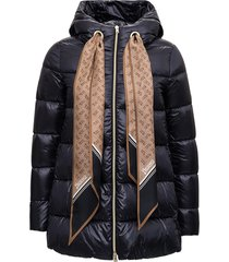 herno black nylon down jacket with scarf detail