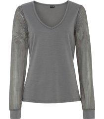 maglia a maniche lunghe con pizzo (grigio) - bodyflirt