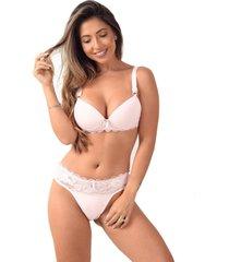 conjunto lingerie vip com bojo reforã§ado  branco - branco - feminino - dafiti