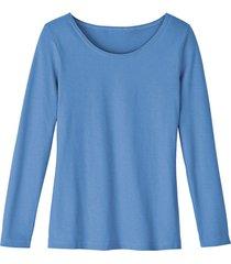 shirt met ronde hals van bio-katoen, jeansblauw 40