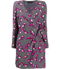 emporio armani sunglasses print wrap dress - grey