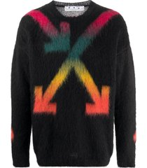 black multicolored arrow logo sweater