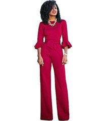 sheer formal jumpsuit with ruffle sleeves (12, red)