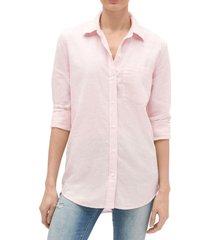 blusa de lino mujer rosa gap