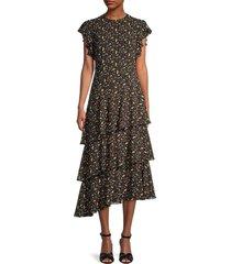 mikael aghal women's berry-print asymmetrical dress - black red - size 8