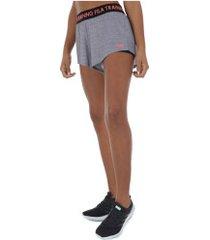 shorts fila training elastic - feminino - cinza claro