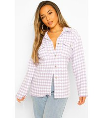 petite dogtooth flannel oversized shacket, lilac