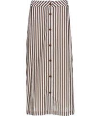 falda larga con botones color café, talla 8