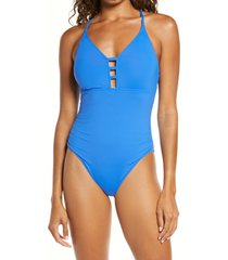 women's la blanca laddered mio one-piece swimsuit, size 0 - blue