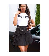sexy hoge taille rok met riem tas zwart