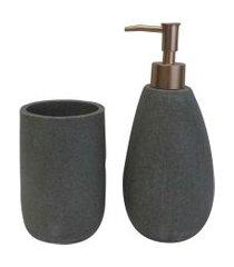 kit banheiro resina cinza