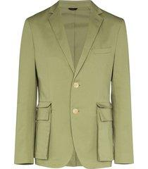 fendi detachable pocket stretch-cotton blazer - green