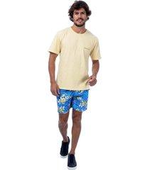 camiseta masculina estonada amarelo - amarelo - masculino - dafiti