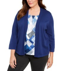 alfred dunner plus size sapphire skies beaded-trim layered-look top
