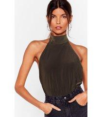 womens slink it over high neck bodysuit - olive