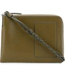 jil sander neck strap zipped pouch bag - green