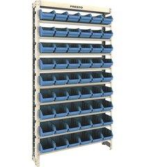 kit estante presto 54/5 com 54 gavetas, azul - 6116a