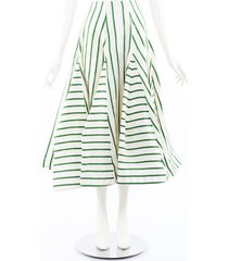 rosie assoulin flouncy striped organza skirt green/white sz: xs