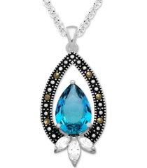 """multi-stone 18"""" pendant necklace in fine silver-plate"""