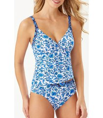 tommy bahama woodblock twist underwire tankini top, size large in mare navy at nordstrom