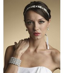 bridal ribbon headband with crystals or wedding belt with ribbon white silver