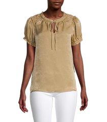 t tahari women's ruffled crewneck top - camel - size l