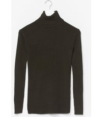 womens ribbed and fitted silhouette turtleneck sweater - forest