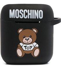 moschino teddy motif logo-print airpods case - black
