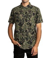 rvca men's leaf camouflage short sleeve shirt