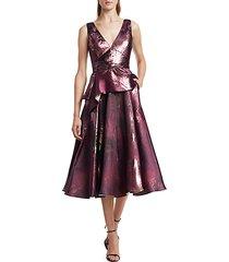metallic jacquard peplum tea gown