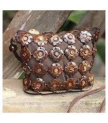 coconut shell shoulder bag, 'petite blossoms' (thailand)