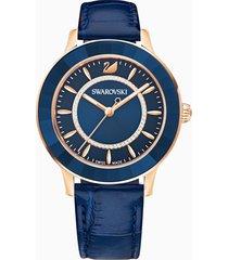 orologio octea lux, cinturino in pelle, azzurro, pvd oro rosa