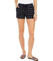 style & co plus size navy-stripe linen shorts, created for macy's