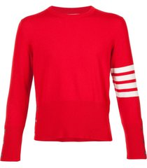 thom browne 4-bar short cashmere pullover - red