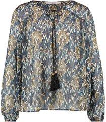blouse met print isaya  blauw