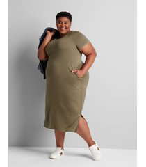 lane bryant women's jersey midi dress 22/24 dried sage
