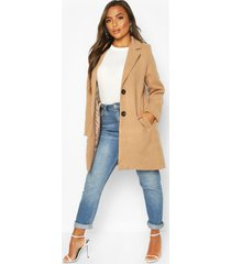 petite button detail camel duster coat, taupe