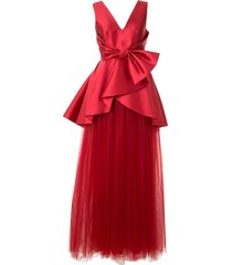 alberta ferretti satin and tulle gown - red