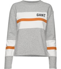 d1.graphic block stripe c-neck sweat-shirt trui grijs gant