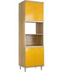 mã³dulo para forno e micro-ondas 4 pts sicãlia argila e amarelo-gema multimã³veis - amarelo - dafiti