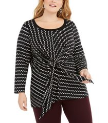 alfani plus size printed tie-waist top, created for macy's
